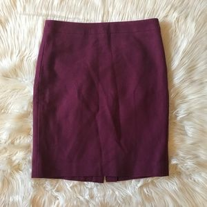 Burgundy Pencil Skirt in Double-serge Wool Size 6